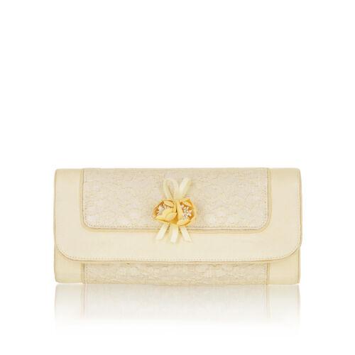 Ruby Shoo Genova Clutch Bag Lace Fuchsia Lemon Navy Silvia