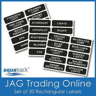 SET RECTANGULAR SWITCH PANEL LABELS -Boat/Marine/Caravan/4x4 Name Decal Stickers