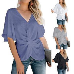 Plus-Size-Women-Twist-Short-Sleeve-Blouse-Chiffon-Casual-Work-OL-T-Shirt-Top-Tee