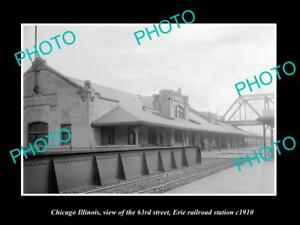 OLD-LARGE-HISTORIC-PHOTO-OF-CHICAGO-ILLINOIS-63rd-St-ERIE-RAILROAD-DEPOT-1910
