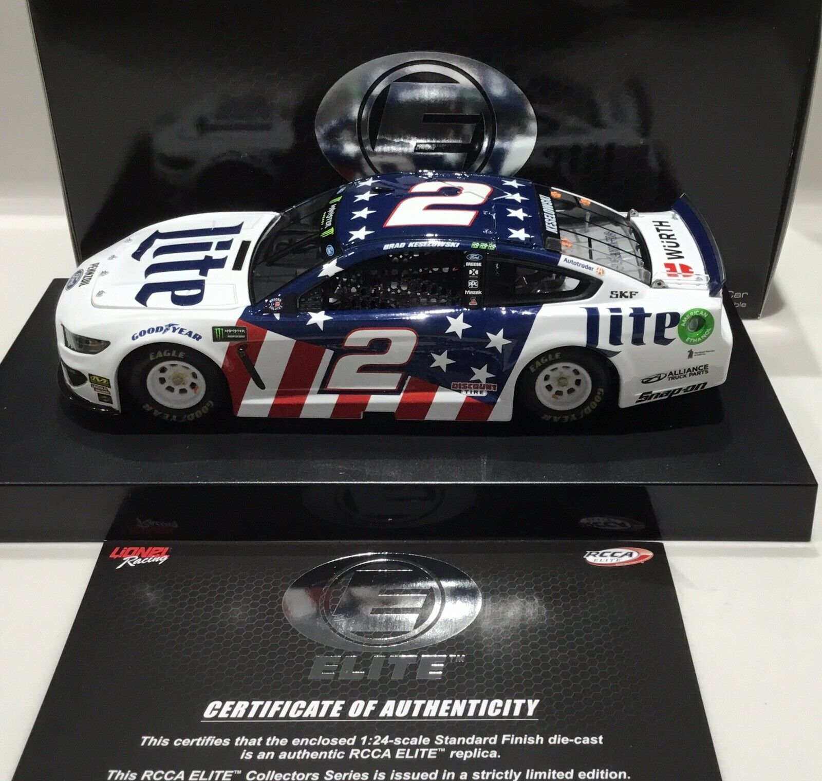 "2019 1 24  2 Brad Keseniedrigski""Miller Lite Patriotic""Elite-Mustang 1of 100 SD Ship"