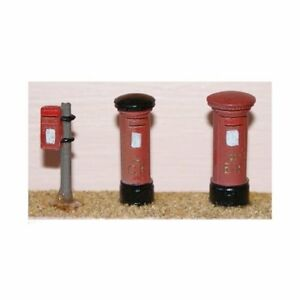 3-Assorted-Pillar-Boxes-OO-Scale-Unpainted-Langley-F24