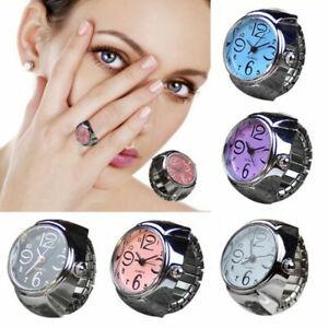 Men-Women-Finger-Rings-Watch-Steel-Tone-Round-Dial-Elastic-Quartz-Ring-Gifts