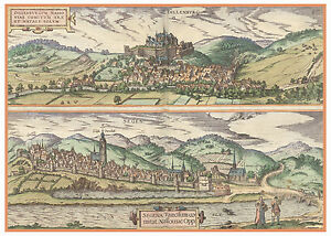 Dillenburg-Hesse-Siegen-Germany-bird-039-s-eye-view-map-Braun-Hogenberg-ca-1617