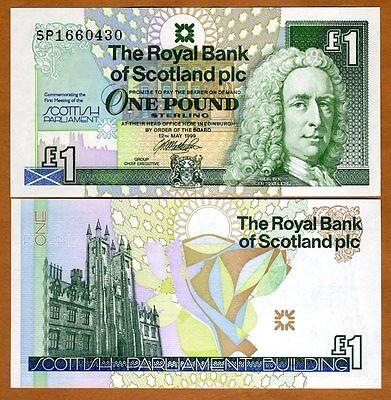 Scotland Royal Bank 1 pound 1999 P-360, UNC > Commemorative, Scottish Parliament