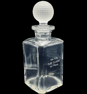 Val-St-Lambert-Signed-Heavy-Lead-Crystal-Golf-Motif-Decanter-w-Ball-Stopper-10