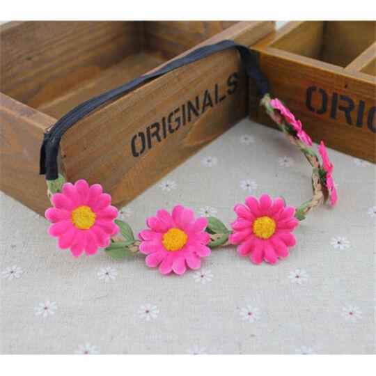 Women Boho Style Flower Festival Wedding Garland Floral Headband Hair Wreaths