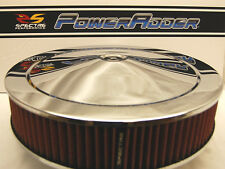 Spectre 14x3 Chrome Air Cleaner Red Washable K&N Style Filter Low Profile Base