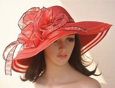 A115 Red Women Church Wedding Kentucky Derby Wide Brim Straw Summer Hat