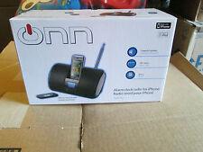 NIB ONN ALARM CLOCK FM RADIO FOR IPHONE 3G & IPOD W/ REMOTE ONIPSK2 BLACK