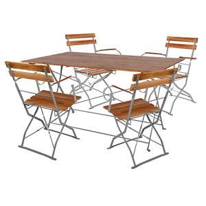 BIRRA giardino Set tavolo pieghevole tavolo + 4 SEDIE PIEGHEVOLI CON BRACCIOLI bistroset acciaio 120x60cm