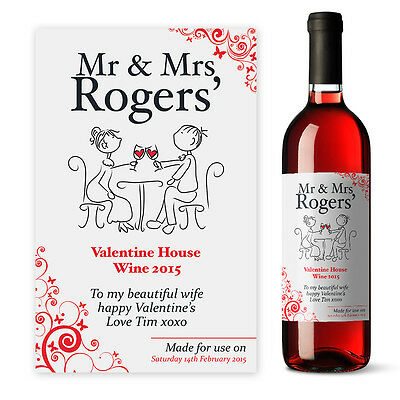 Valentines Day Couple's Special Meal Personalised wine label gift