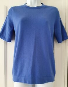 Womens-Pure-Collection-Cornflower-Blue-Short-Sleeve-Pure-Cashmere-Jumper-12-New