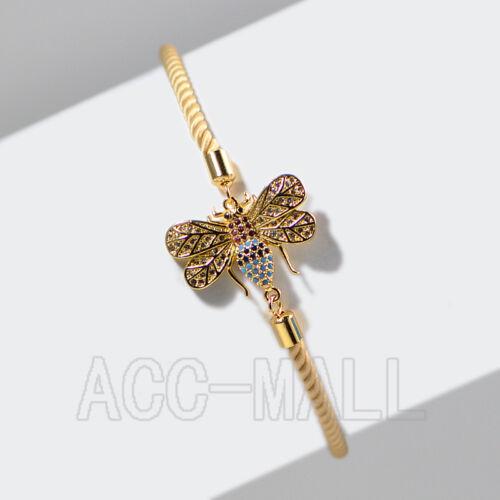 Zircon Gemme Libellule Réglable Milan Coton Cordon Bracelet 18x23mm