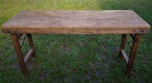 Primitive-Country-Farm-Console-Table-Rustic-Folding-Legs-58-5-034-Sofa-Reclaimed
