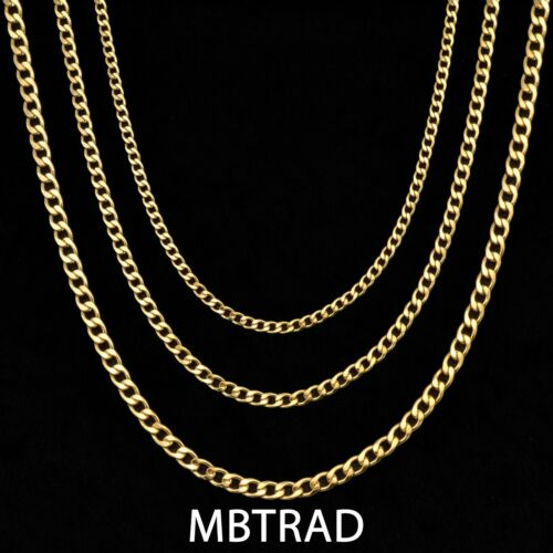 18K Gold Sterling Silver Plated Stainless Steel Cuban Link Chain Necklace 2-4mm