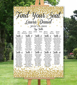 PERSONALISED-WEDDING-TABLE-SEATING-PLAN-UN-BACKED-GOLD-SILVER-A3-A2-A1