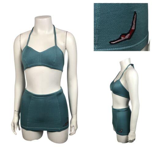 1940s Jantzen Bikini Swimsuit / Teal Blue Two Piec