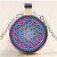 Purple-Flower-Of-life-Cabochon-Glass-Tibet-Silver-Chain-Pendant-Necklace miniature 1