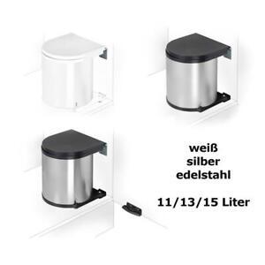 WESCO-Einbau-Abfallsammler-Muelleimer-rund-11-13-15-Liter-silber-edelstahl-weiss
