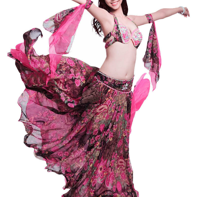 C925 professionale danza del ventre costume 4 pezzi reggiseno  Gonna  2 bracciaIetti Belly Dance