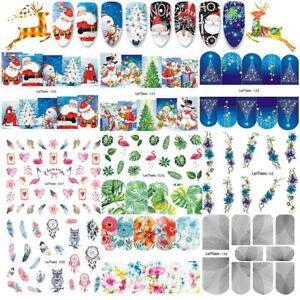 10-feuilles-Noel-NOUVEAU-STICKERS-ONGLES-WATER-DECALS-MANUCURE-NAIL-ART-Salon