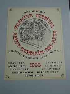 AFFICHE-PREMIER-FESTIVAL-SAINT-GERMAIN-DES-ARTS-1966-LITHOGRAPHIE-50X66cm