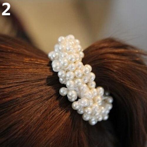 KQ/_ Women Rope Scrunchie Ponytail Holder Faux Pearl Beads Elastic Hair Band HK