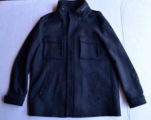 Elie-Tahari-Wool-Cashmere-Blend-Lined-Dark-Gray-Men-039-s-Coat-Size-XL-498-00