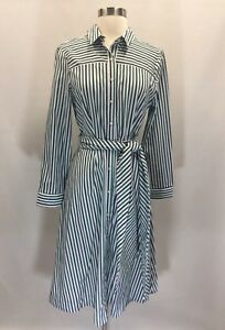 235cc5e41 New J Crew Tie-Waist Shirtdress In End-on-end Cotton Dress In Stripe ...