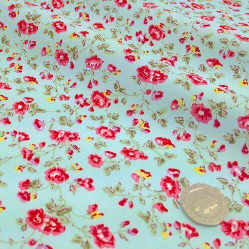 Sweet Charlotte Tela Floral Azul Gris Limón 100/% algodón por 1//2 M//cuarto gordo