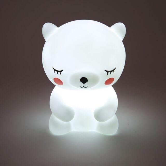 Bear Led Night Light Lamp Children Kids Room Animal Bedside Bedroom Cute Lights