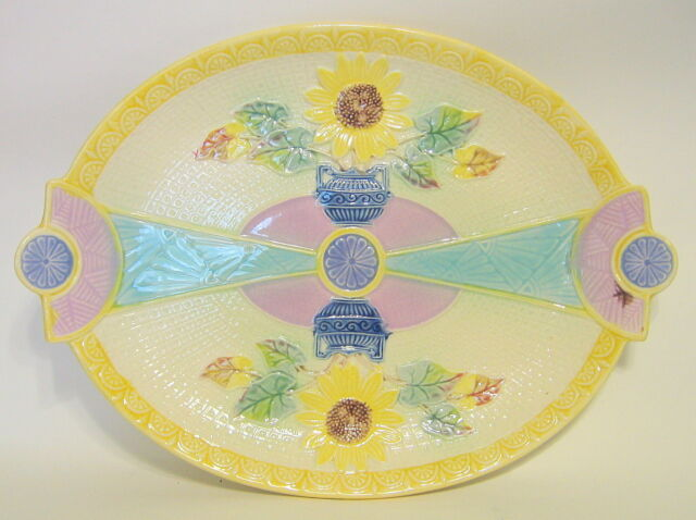 English Antique Majolica Serving Tray Samuel Lear Sunflower and Classical Urn