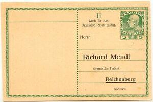 OSTERREICH-1908-Franz-Joseph-5-H-ungebr-Privat-GA-Antwortpostkarte-der-Fa-Mendl