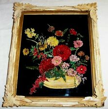 1800s Antique TINSEL PAINTING Reverse Glass Wood Frame Flowers Floral Folk Art