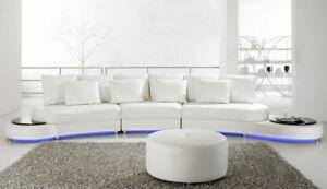 Edle Design Rund Sofa Couch Wohnlandschaft Hocker Leder Runde