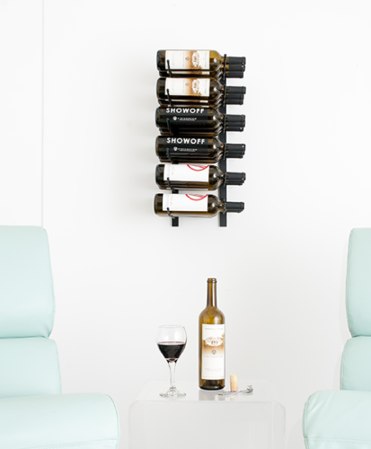 VintageView® WS23 2-Foot 18 Bottle Wall Mounted Wine Rack in Satin Black.