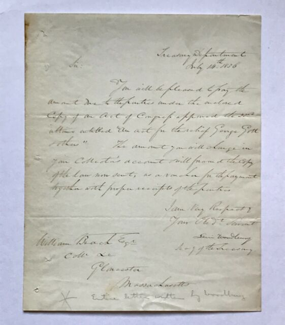 1836 Autographed Letter From US Secretary Of The Treasury Levi Woodbury