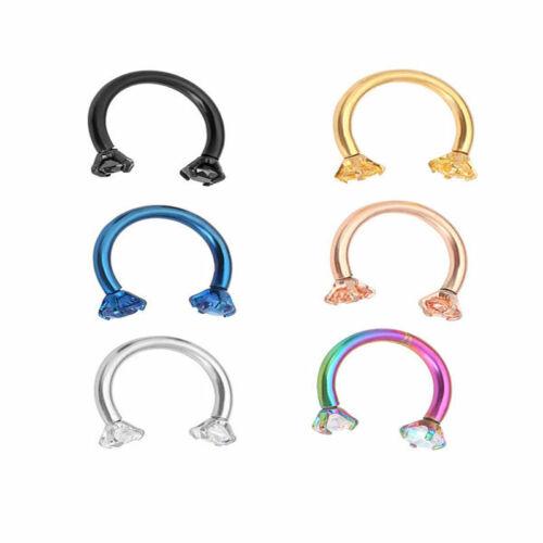 50pcs CZ Internally Threaded Horseshoes CBR Nose Lip Eyebrow  Cartilage Piercing