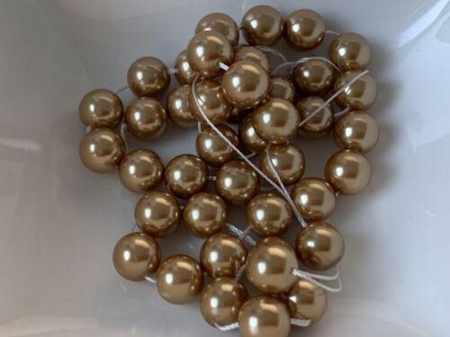 Glaswachsperlen Perlen beige gold glänzend 10mm 42 Stück Schmuck Basteln R116