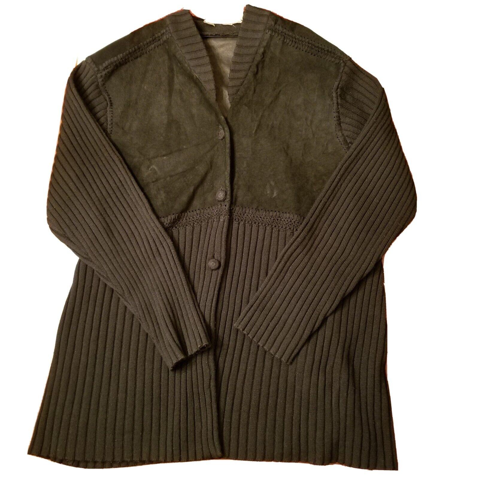 J Jill Cardigan  Wool/suede Leather Blend Woven L… - image 2