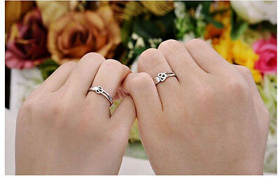 Mens Women Heart Love Silver Couple Rings Wedding Band His and Her Promise Rings