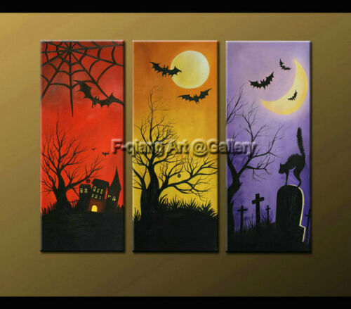 Modern sitting wall decor abstract oil painting on Canvas Halloween art Framed