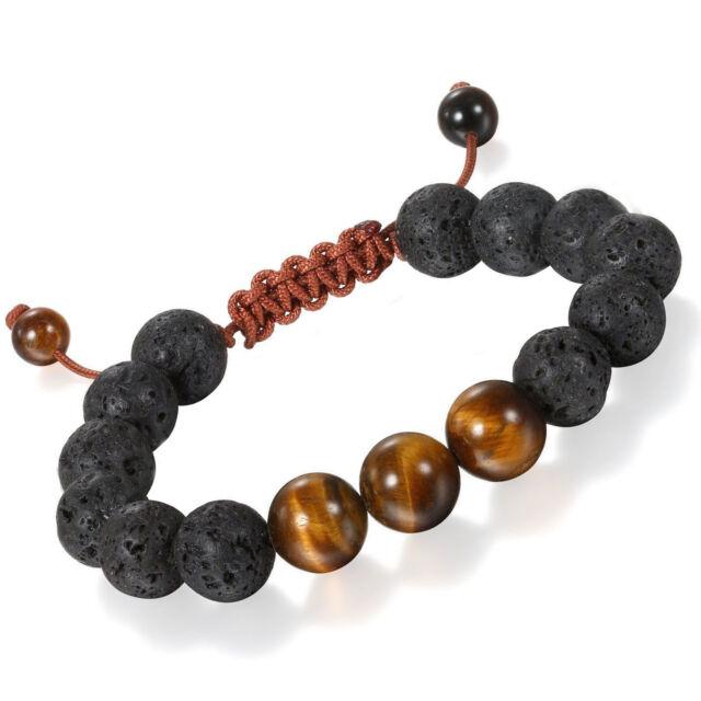 Men Healing Energy 10mm Tigers Eye Lava Stone Handmade Yoga Meditation Bracelet