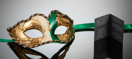 Petit Originale vénitien masque pour Carnaval Bal Masqué Masque yeux vert or