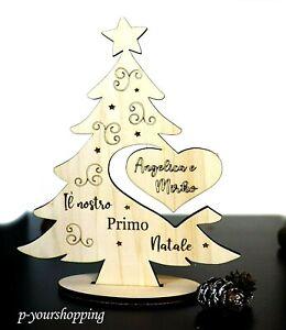 Decorazioni Natalizie Con Foto.Albero Di Natale In Legno Con Cuore E Nome Decorazioni Natalizie Addobbi Ebay