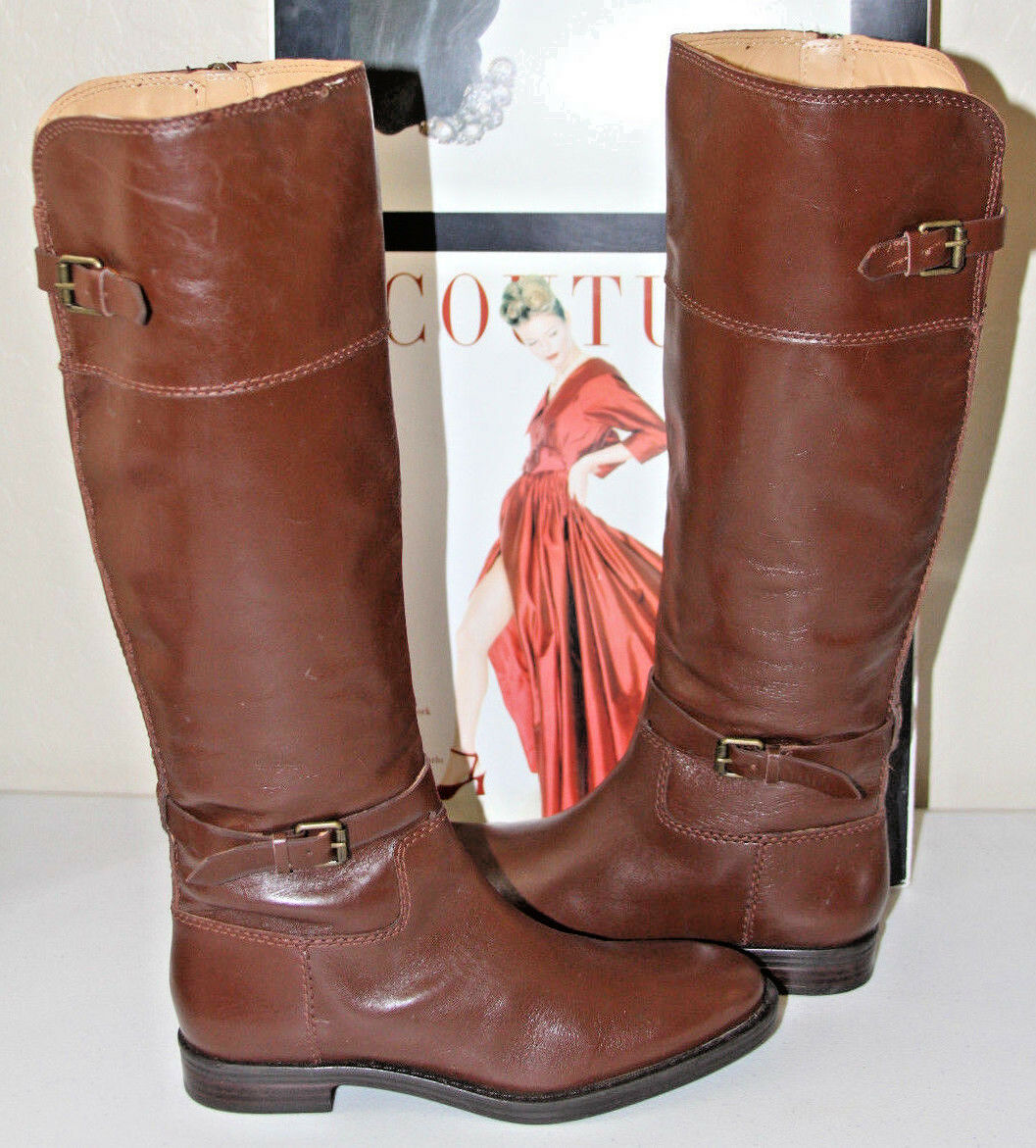 79 ENZO ANGIOLINI EERO BROWN LEATHER TALL BOOTS    SZ 5.5    MSRP
