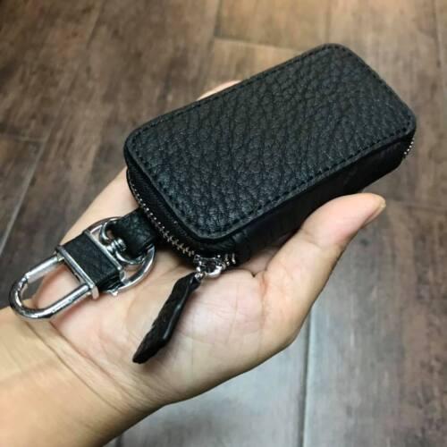 New Car Key Case Genuine Leather Handmade Remote Control Zipper Purse Case Bag