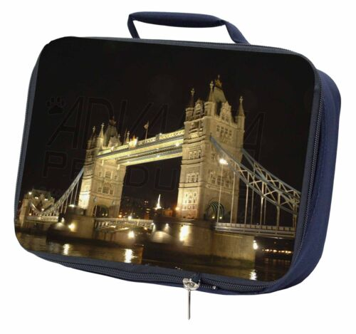 PLA-LO1LBN London Tower Bridge Print Navy Insulated School Lunch Box Bag