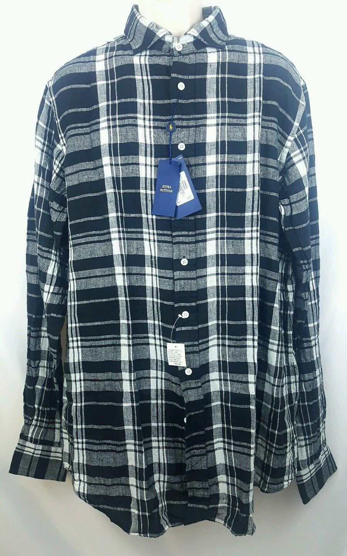 NWT Ralph Lauren Men's Plaid Long Sleeve Linen Shirt Size XLT  MSRP (0027)